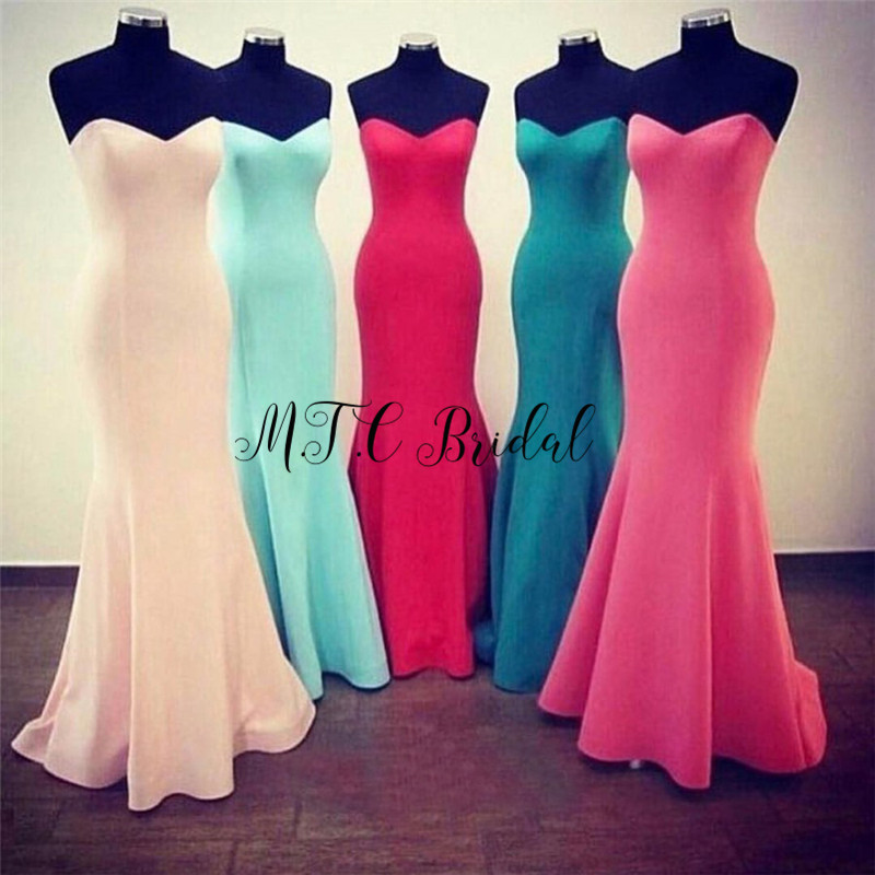 Wholesale Mermaid Long   Evening     Dress   Simple Elastic Satin Floor Length Sweetheart Cheap Wedding Party Gowns 2019 New Arrival