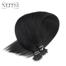 Neitsi Brazilian Straight Loop Micro Ring Hair Nano Ring Beads Human Hair Extensions 16″ 20″ 24″ 1.0g/s 100g 1# 60#