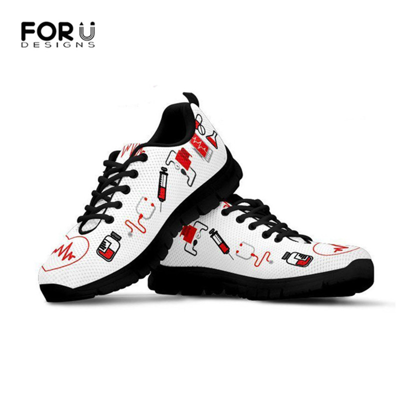 FORUDESIGNS Women Heart Nurse Shoes Printing for Work Woman Comfortable Nursing Mesh Sneakers Girls Black Flat Shoes Zapatillas
