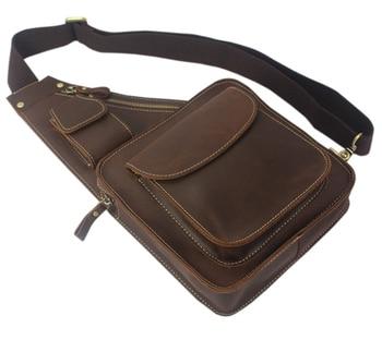 Vintage Crazy horse Genuine Leather Men Shoulder bag leather Messenger bag  Men Crossbody bag Male Leisure f6687b9b50153