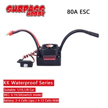 SURPASSHOBBY KK Waterproof 80A ESC Electric Speed Controller for RC 1/10 1/8 RC Car 3670 Brushless Motor skyrc toro ts160 150a esc competition electronic speed controller for 1 10 1 10 scale rc car 1 8 1 8 scale rawler parts