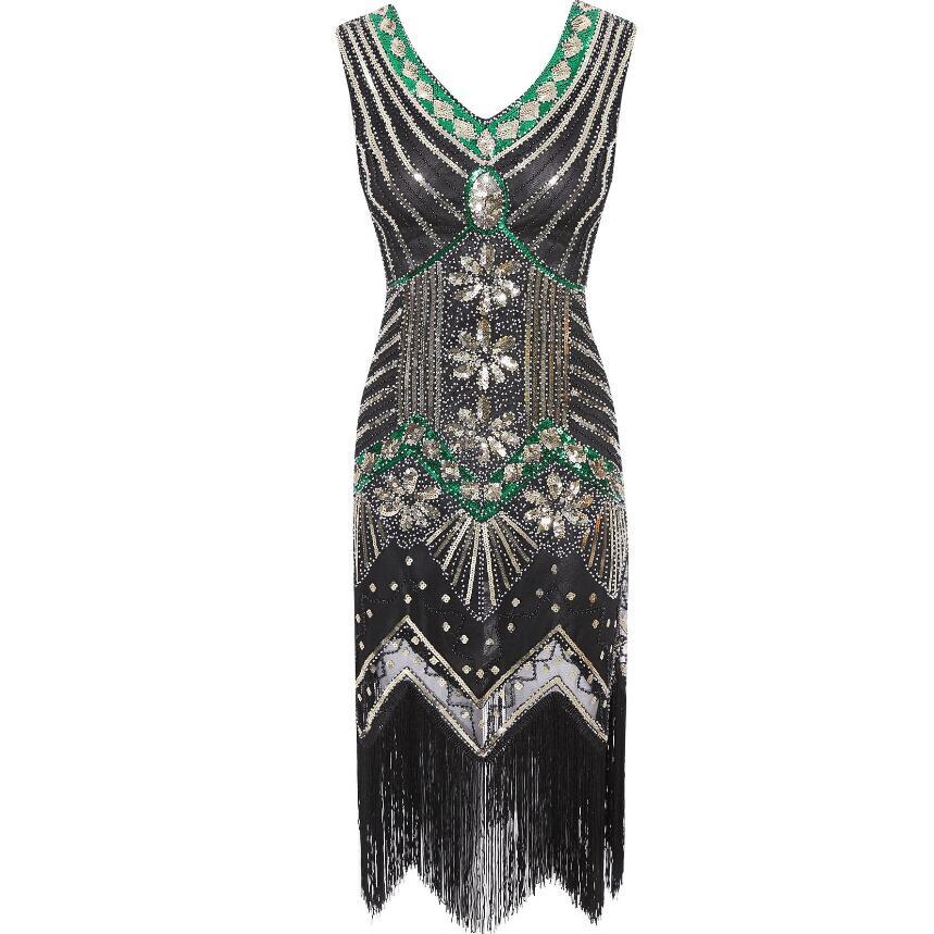 1920s Vintage Flapper Great Gatsby Party Dress V-Neck Sleeveless Sequin Beaded style Style Tassel Flapper Vestidos Feminina 1920 11