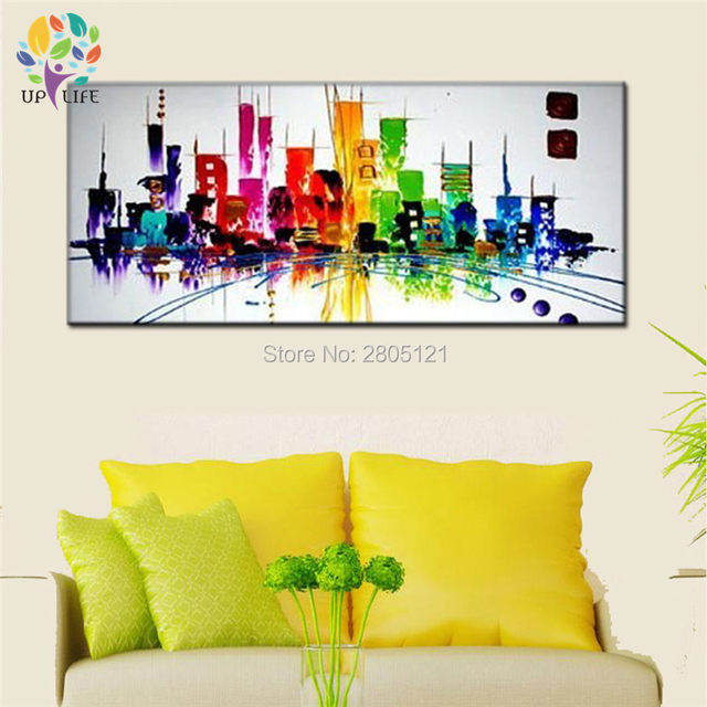 Online Shop The rainbow city NEW YORK ! Hand painted modern abstract ...