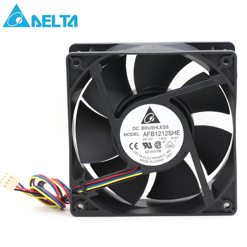 Brand Delta AFB1212SHE 12038 12cm 1.6A 12v 4wire PWM cooling fan 120*120*38mm 151.85CFM 3700RPM 53dB-A original delta afb1212hhe r00 dc12v 0 70a 3wires 120 120 38mm 12cm alarm signal cooling fan