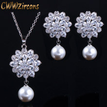 CWWZircons Brand Trendy Women Pearl Jewelry High Quality Zirconia Crystal Ladies Dangling Pendant Necklace And Earring Set T280(China)