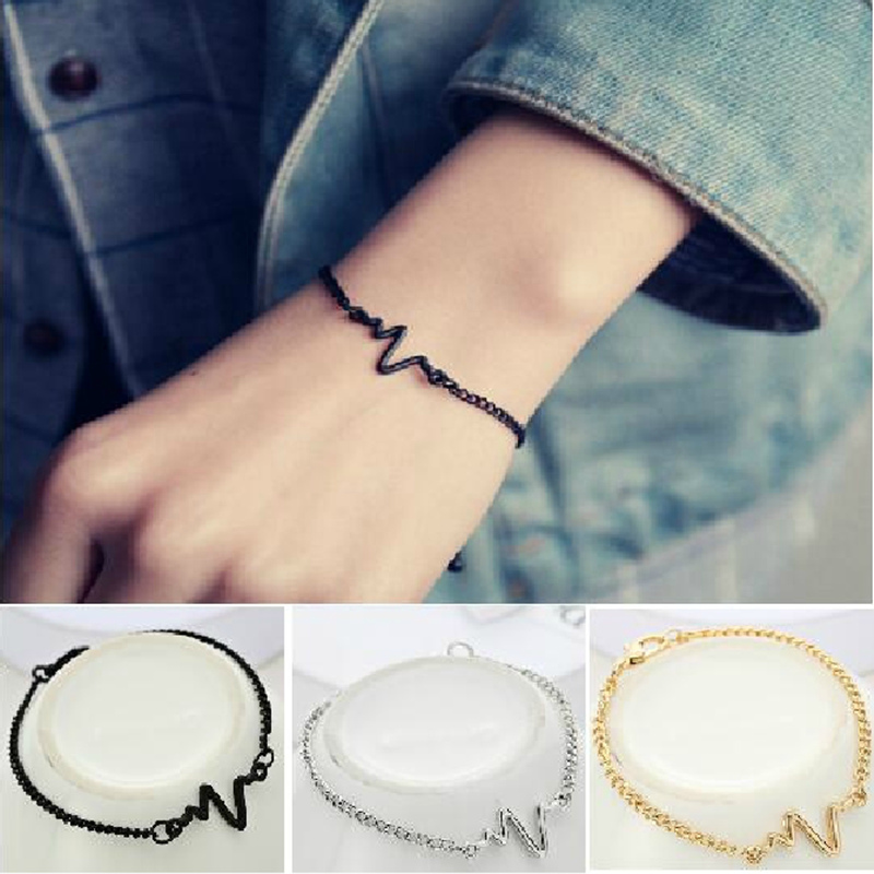 2019 New Arrivals Korean Fashion Hot Simple Waves ECG Heart Rate Lightning Bracelets For Women & Men Jewelry Summer Style Beach
