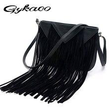 Gykaeo 2017 дизайнер Для женщин кожаная сумка с бахромой сумка женская Курьерские сумки для Для женщин Сумки через плечо Bolsa feminina
