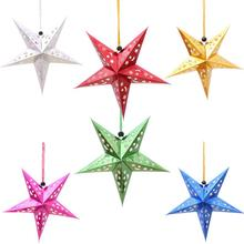 10 Pcs/lot Laser Christmas Five-pointed Star Ceiling Ornament Paper Five Decoration