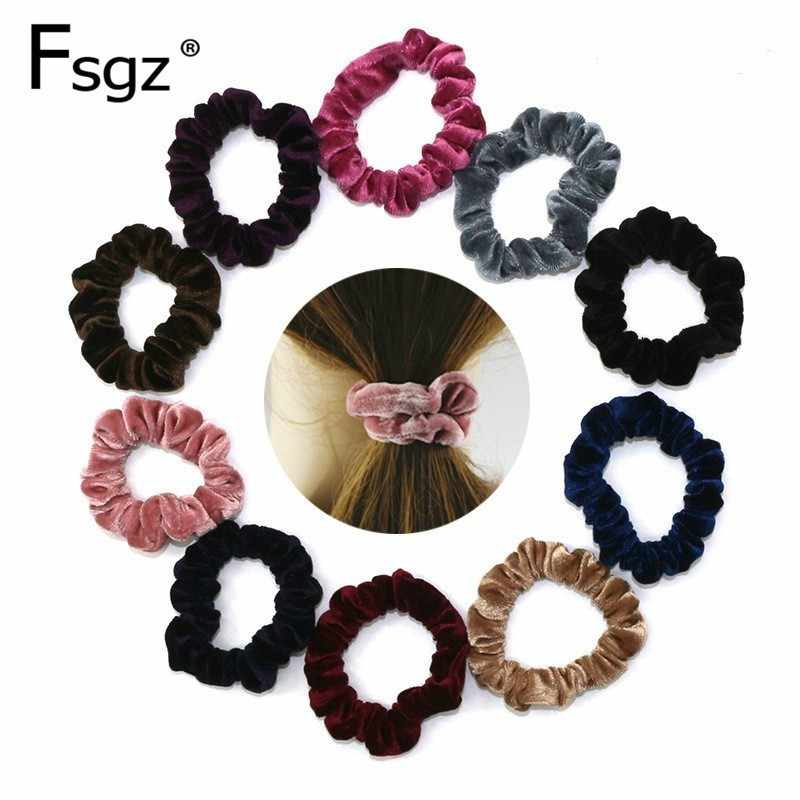 Velvet Scrunchies For Women Solid Elastic Hair Bands Ponytail Hair Tie Soft Fabrics Hair Rubber Bands Hair Loops Scrunchy Access