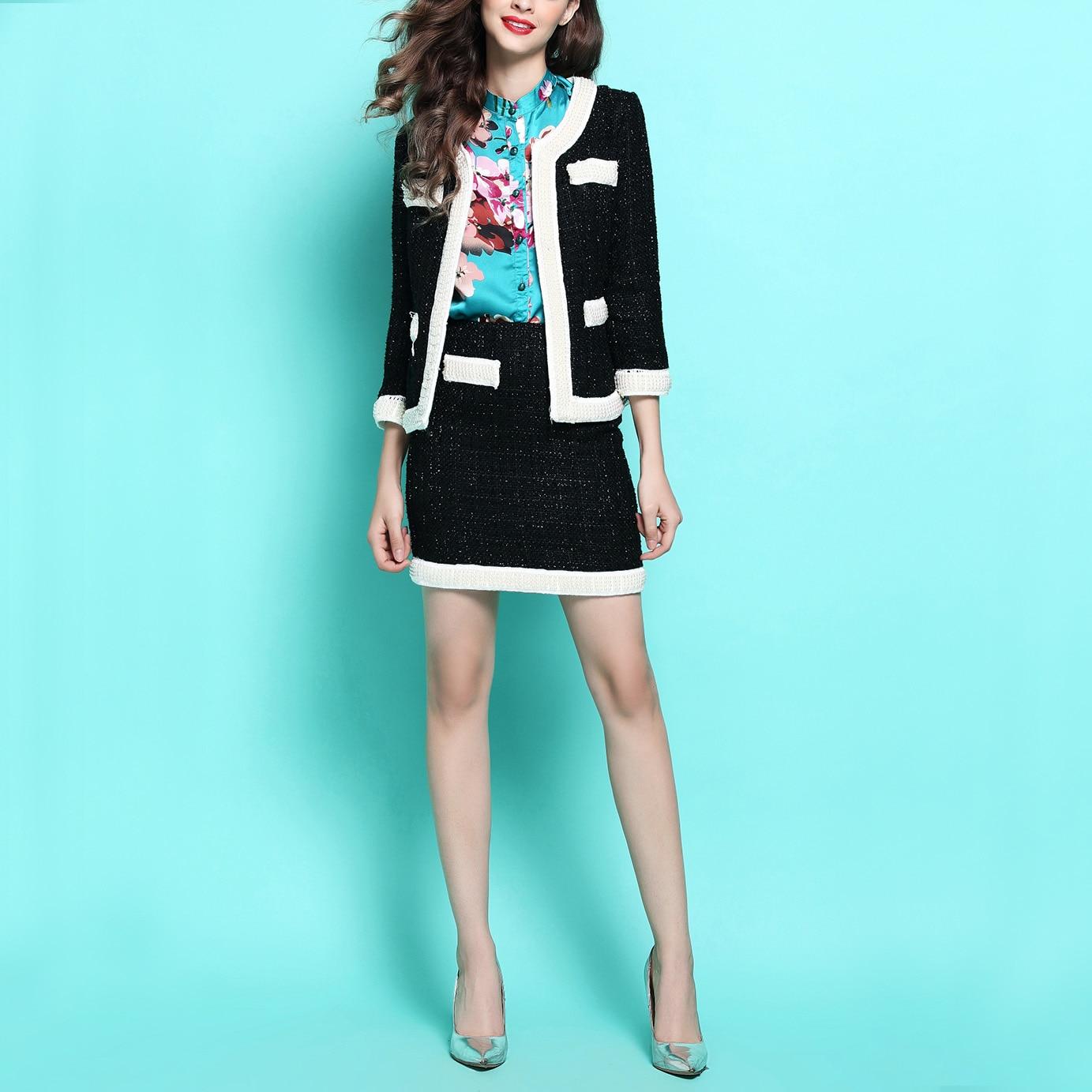 New wind Tweed Wool ladies  OL pearl in sets coat  and  skirt