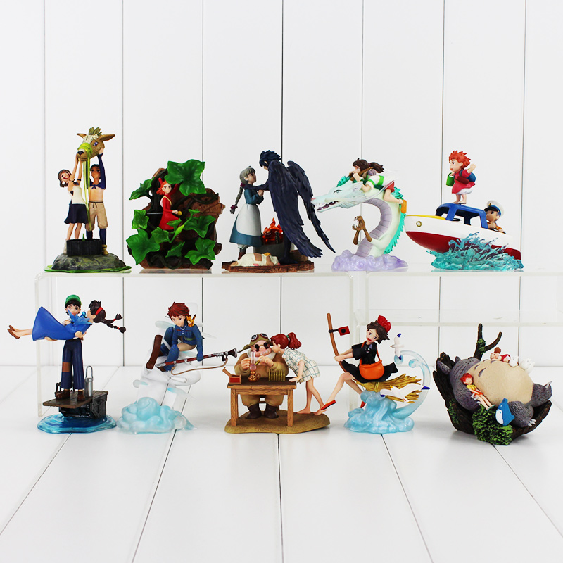 10styles Hayao Miyazaki Studio Ghibli Warriors of the Wind The Borrower Arrietty Ponyo on the Cliff Spirited Away PVC figure toy free shipping anime cartoon miyazaki hayao spirited away no face music box pvc action figure collection toy doll 12cm mhfg018
