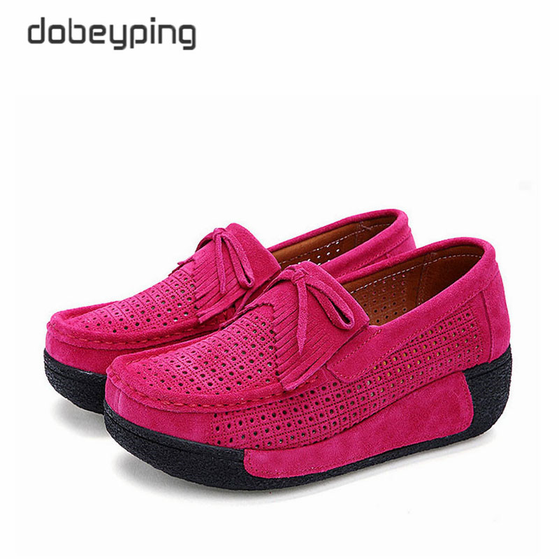 Image 2 - 2018 New Spring Summer Casual Shoes Woman Slip On Platform Women Flat Shoe Cow Leather Womens Loafers Moccasins Female Sneakersslip on platformslip on platform womenshoes woman slip on -