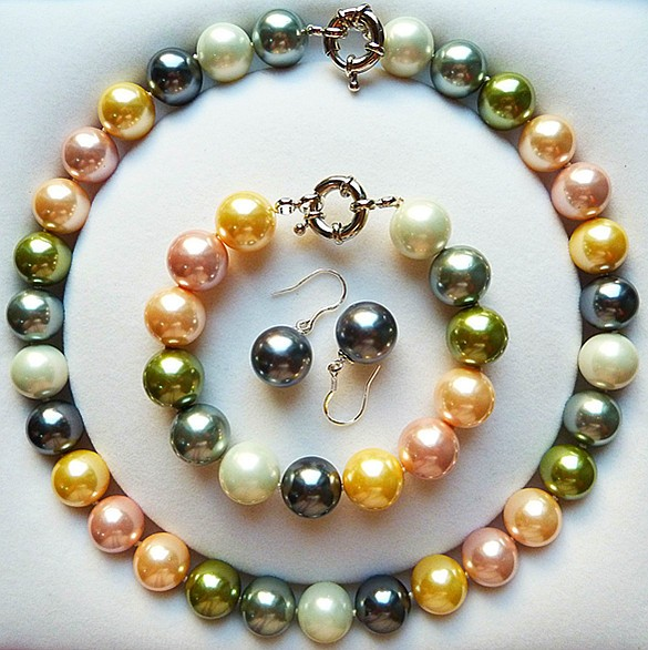 Wholesales hand knotted 14mm color sea shell pearl necklace bracelet earrings set fashion jewellery #1