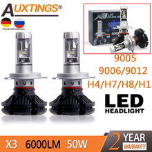 Auxtings 2 uds X3 led faro 50W 6000LM LED faro del coche 3000 K/6500 K/8000 K ZES Chip H1 H11 9005 H4 9006 H7 LED antiniebla(China)