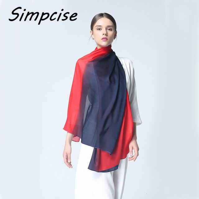 82f9f7816220e Women Silk Scarf Fashion Ombre Echarpe Soft Summer Wrap Female Luxury  Scarves Foulard Beach cover-up Beach scarf S9A189038