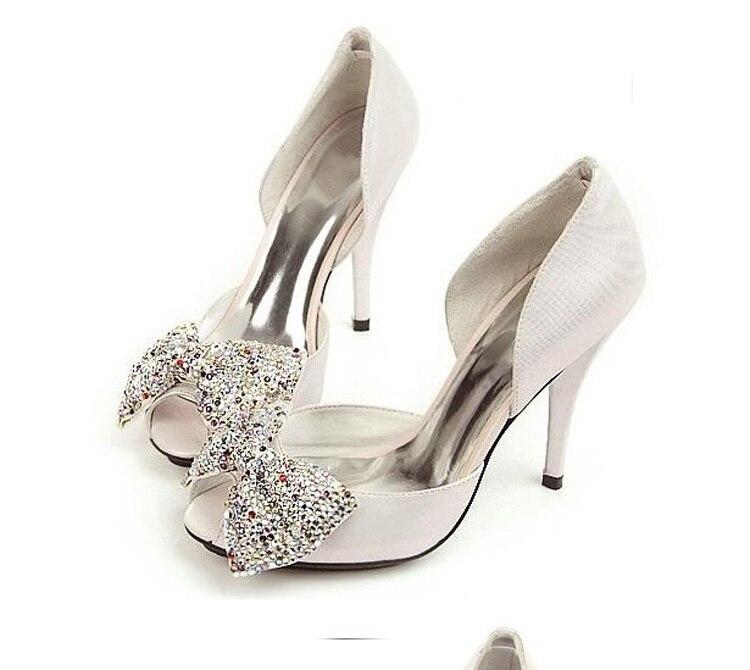 2018 Luxury Silver Rhinestone Wedding Bridal Dress Shoes