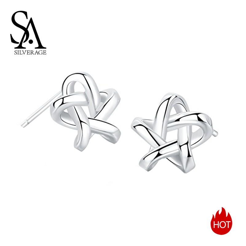 SA SILVERAGE 925 Sterling Silver Star Stud Earrings for Women Fine Jewelry Silver 925 Stud Earrings Set Earings Female Brincos pair of stylish rhinestone triangle stud earrings for women