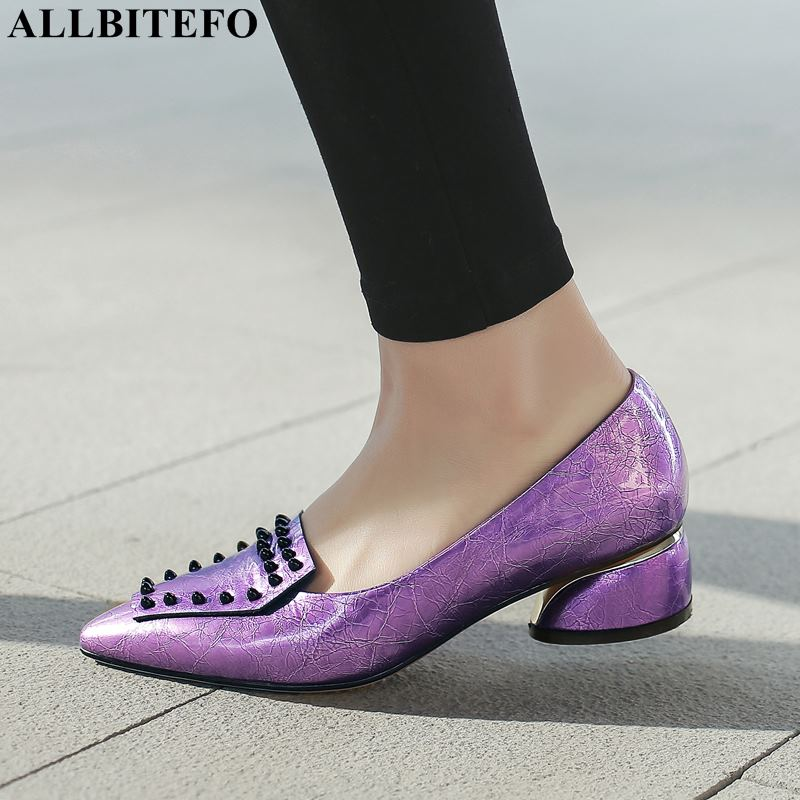 ALLBITEFO fashion rivets genuine leather pointed toe high heels women shoes high quality women high heel