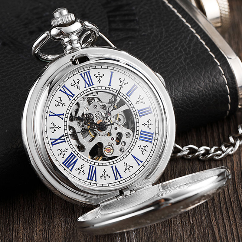 Vintage Silver Delicate Engraved Case Steampunk Hand Wind Mechanical Pocket Watch Necklace With Chain Skeleton For Men Women