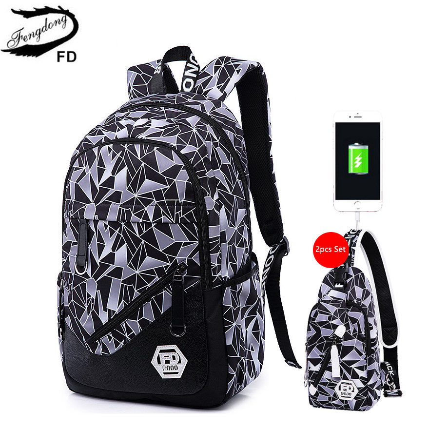 FengDong women USB Backpack travel bags female small sling chest bag set external charging notebook bag girls school backpack fengdong brand female laptop backpack women travel bags high school backpack for girls black and white waterproof chest bag set