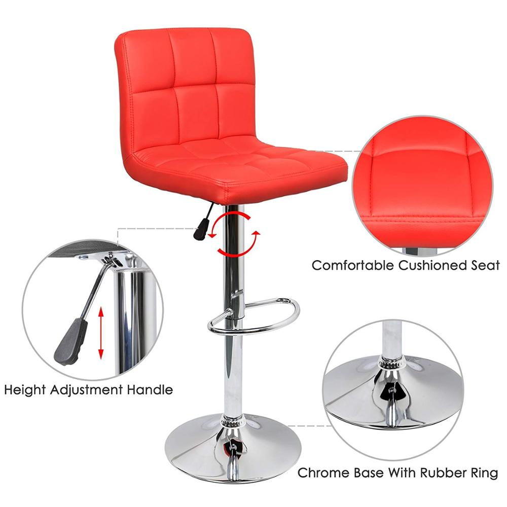 IntimaTe WM 2Pcs/set Adjustable Red Bar Chair PU Leather Lift Swivel Bar Stools Lift Modern Minimalist Home Rotating  A4