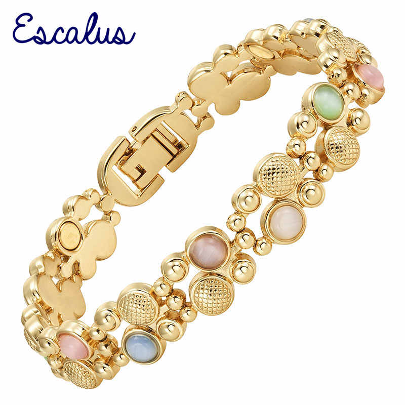 Escalus Trendy Magnetic Women's Jewelry Gold Color Bracelet For Women Colorful Cat Eye Stones Magnet Fashion Bracelets