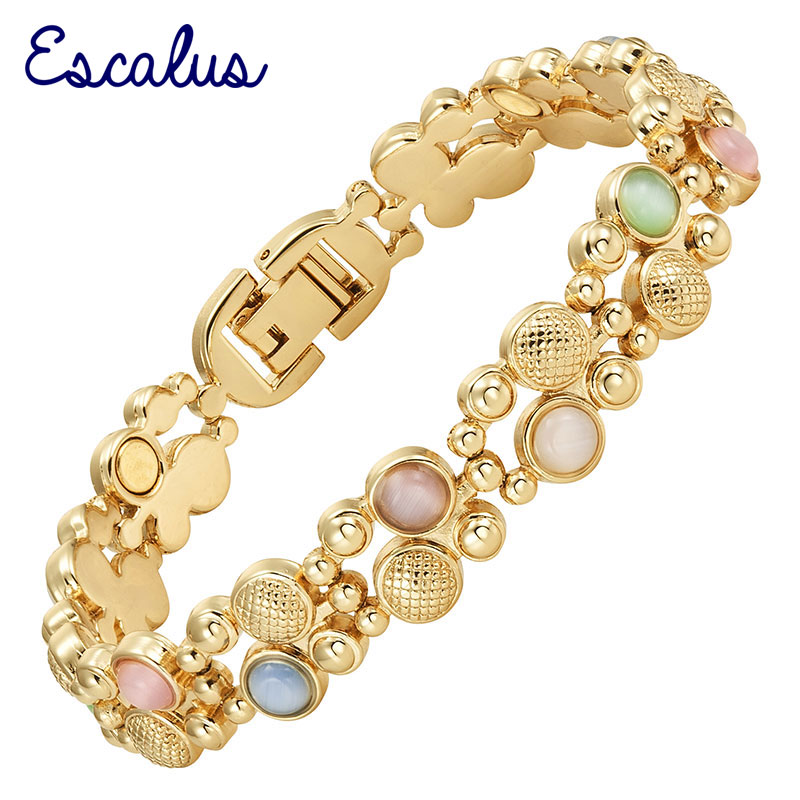 Escalus Trendy Magnetic Womens Jewelry Gold Color Bracelet For Women Colorful Cat Eye Stones Magnet Fashion BraceletsEscalus Trendy Magnetic Womens Jewelry Gold Color Bracelet For Women Colorful Cat Eye Stones Magnet Fashion Bracelets