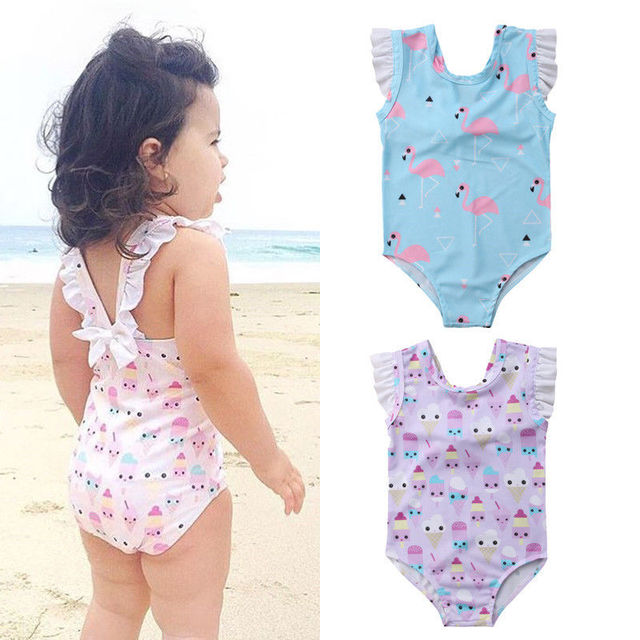 faa5bac1ed28 Kids Bathing Suit Girls one Piece Flamingo Ice Cream Bikini 2018 ...
