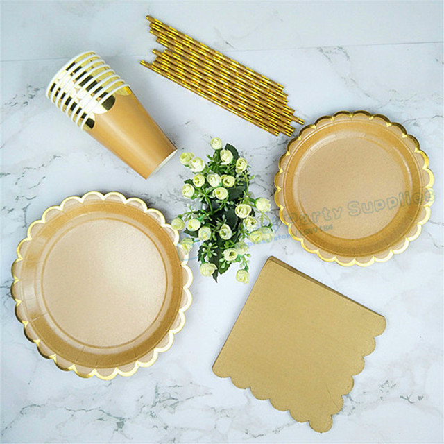 48 Sets Gold Kraft Party Tableware Paper Plates 9  Dishes 7  Paper Cups Paper & 48 Sets Gold Kraft Party Tableware Paper Plates 9
