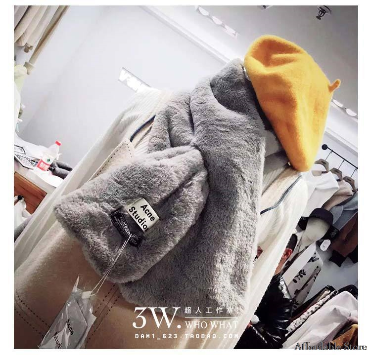 New autumn and winter warm jacket neck scarf couple hood thick warm rabbit fur collar