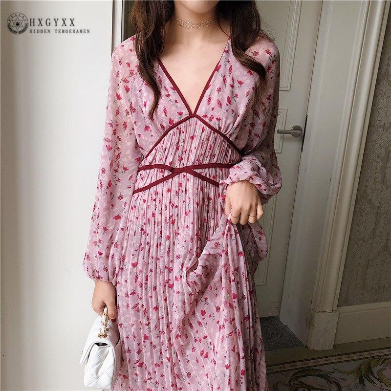 2019 nouvelle robe en mousseline de soie coréenne été taille longue col en v robe plissée mode Simple élégant Slim femmes robes C156