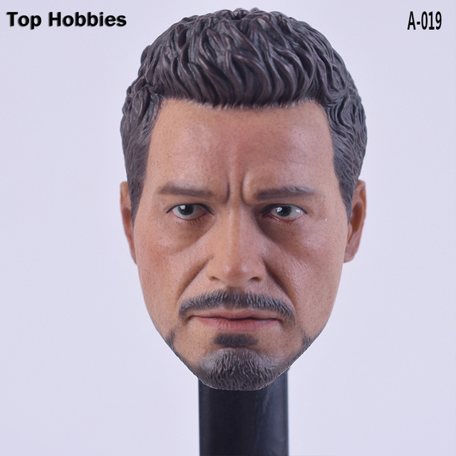 "A-019 Custom 1/6 scale Soldiers accessories Head Sculpt Tony Stark Robert Downey Jr.fit 12""Phicen hottoys Action figure Headplay"