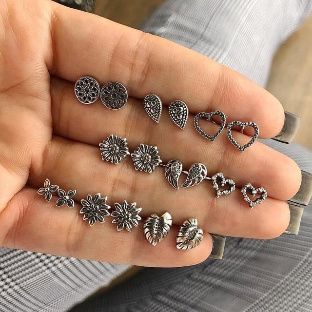 AILEND earrings set combination 9 pairs of earrings peach heart drop shells vintage carved earrings ear jewelry bohemian style