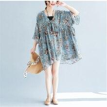 2018 Summer New Women Fashion Print Chiffon Dress Lady Wild Casual Floral Dresses Bohimian Beach Vestidos LJ029