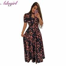 Женское Пляжное Платье макси с цветочным принтом повседневное