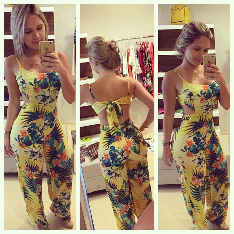 Women Clubwear Playsuit Yellow Floral Printed Bandage Bodycon Party Jumpsuit   Romper   Long Trouser Hot