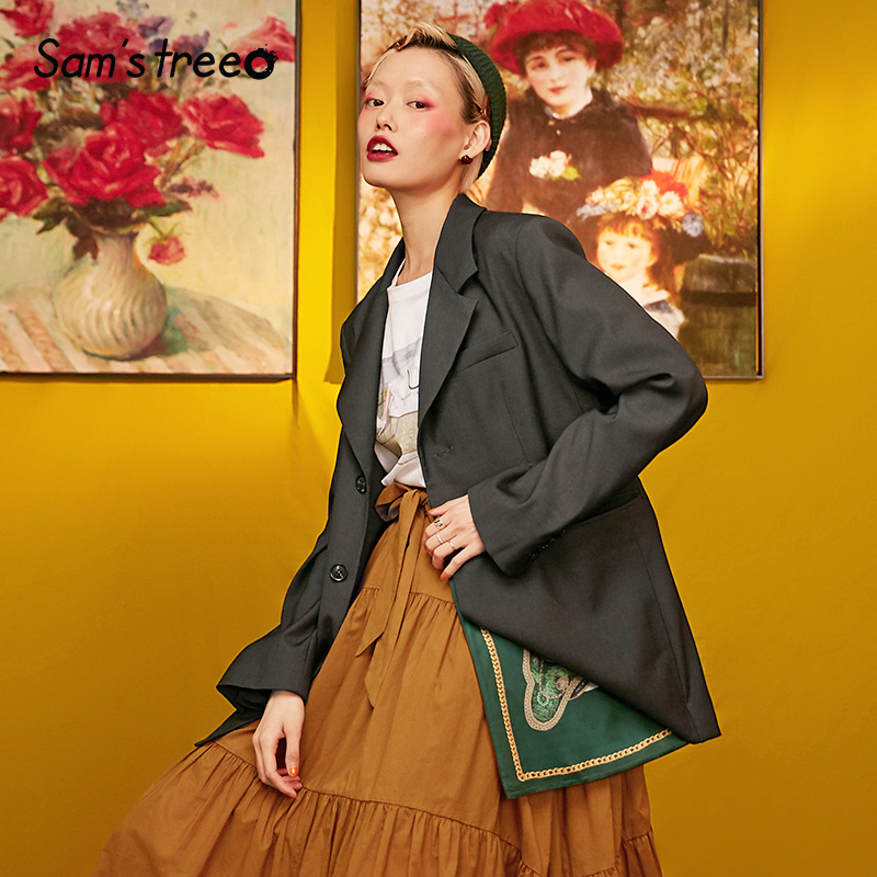 Samstree Black Pure Button Women Blazer 2019 Autumn Loose Korean Female Coats Oversized Streetwear Office Ladies Blazers