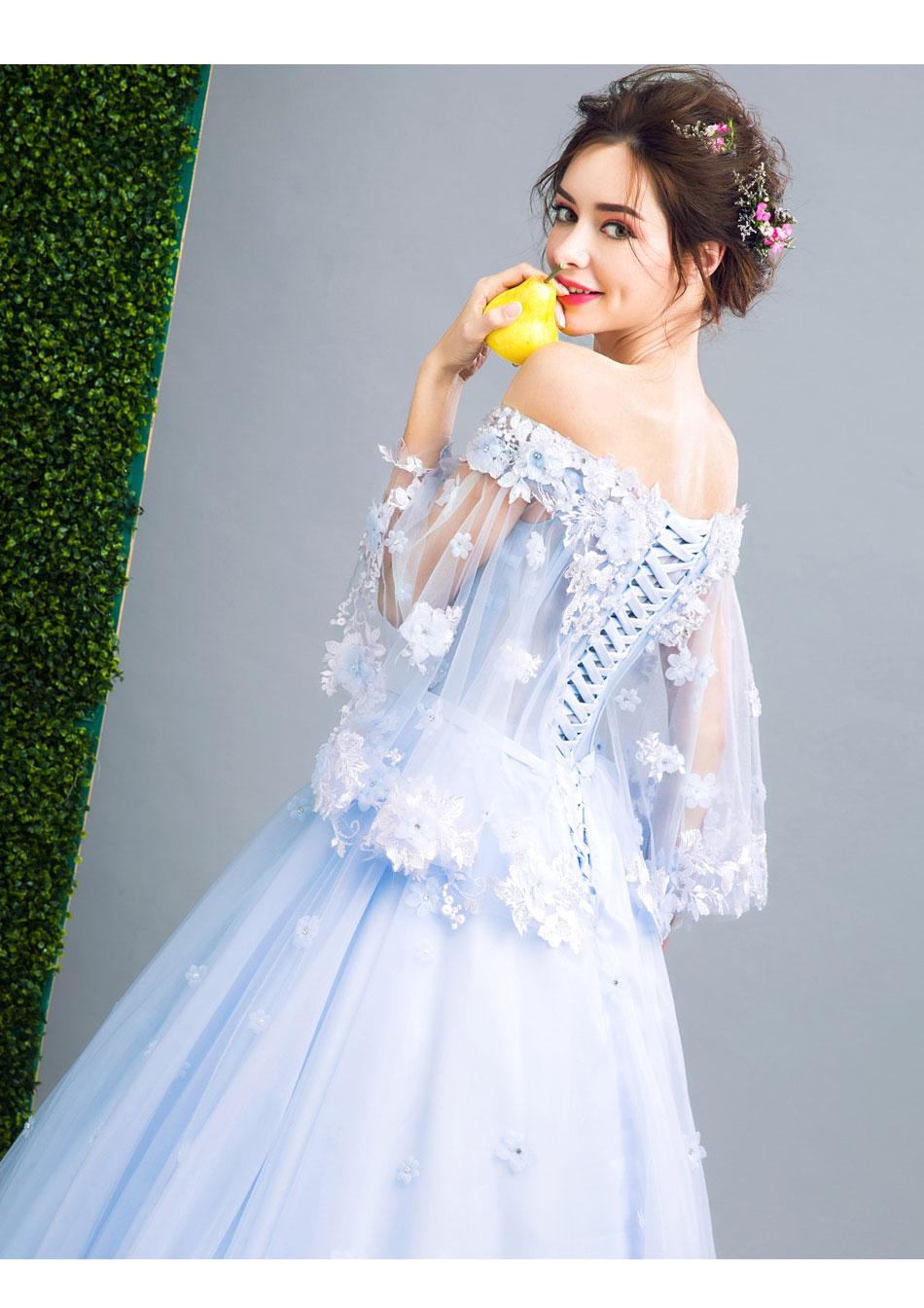 iGown Brand New Romantic Blue Flower Fairy Evening Dress Bride ...