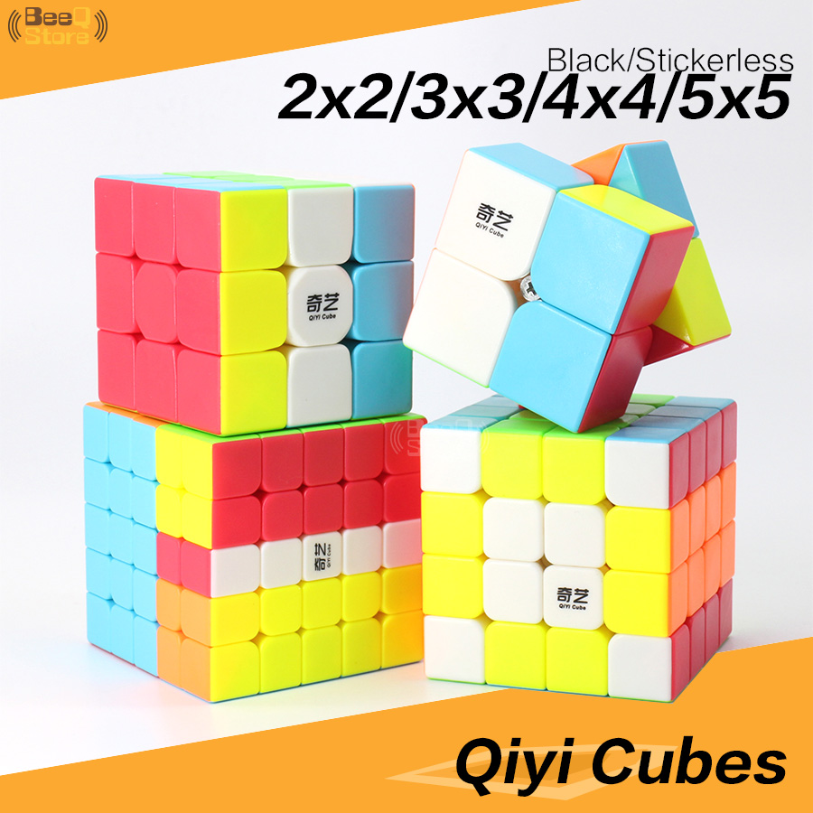 Qiyi 2x2 3x3 4x4 5x5 Magic Cube QiyuanS QizhengS Speed Cube Puzzle WarriorW Qidi Black Stickerless 3pcs 4pcs/Set Educational Toy
