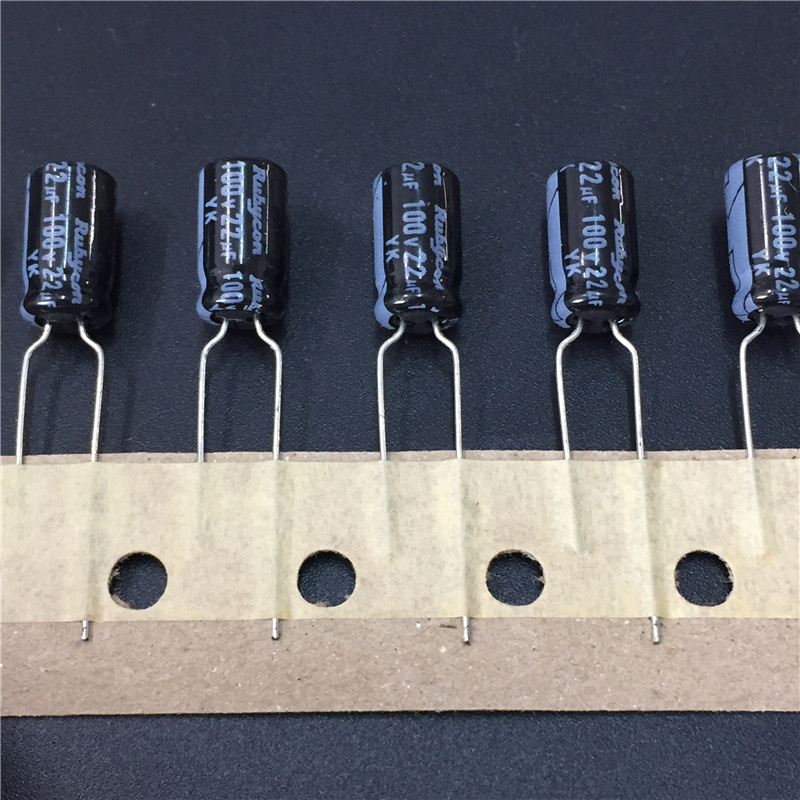 10pcs 22uF 100V RUBYCON YK Series 6.3x11mm 100V22uF Aluminum Electrolytic Capacitor