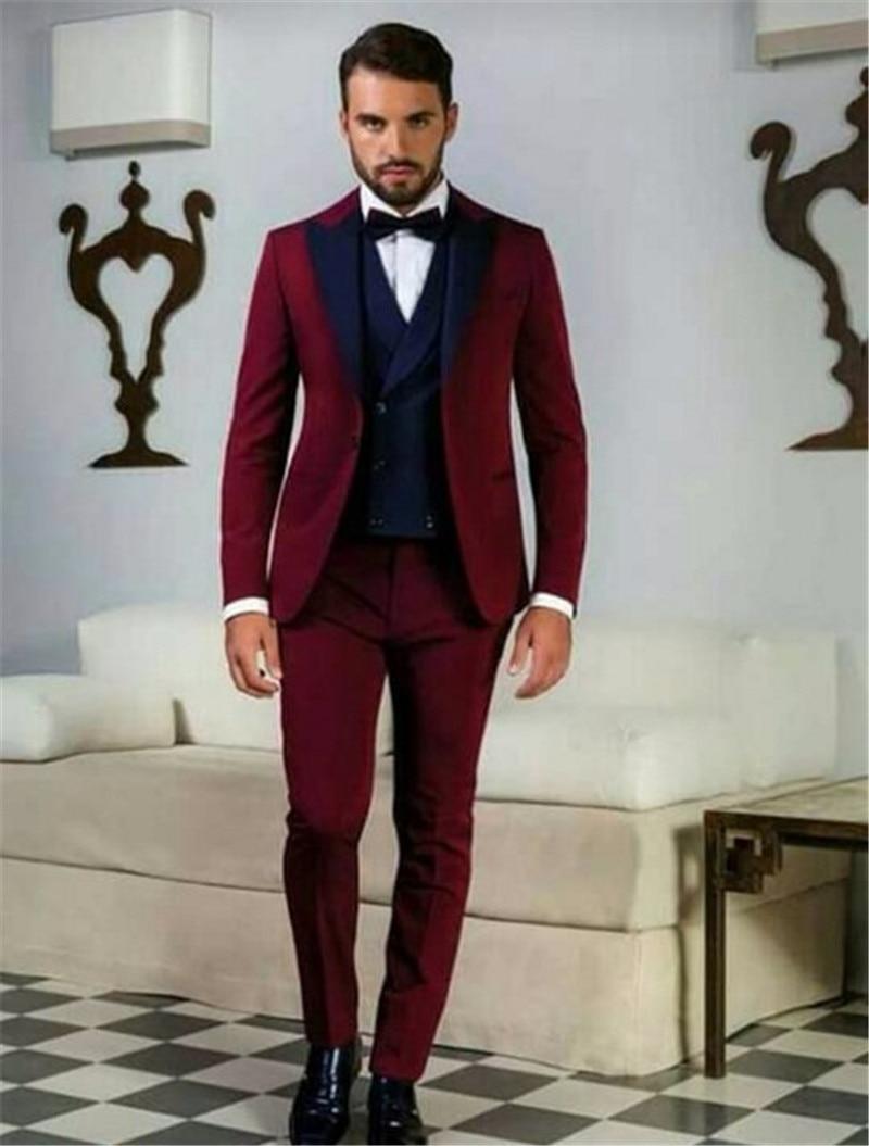 jacket+pants+bow Tie K:1992 Navy Blue Mens Suits Groom Tuxedos Groomsmen Wedding Party Dinner Best Man Suits Blazer