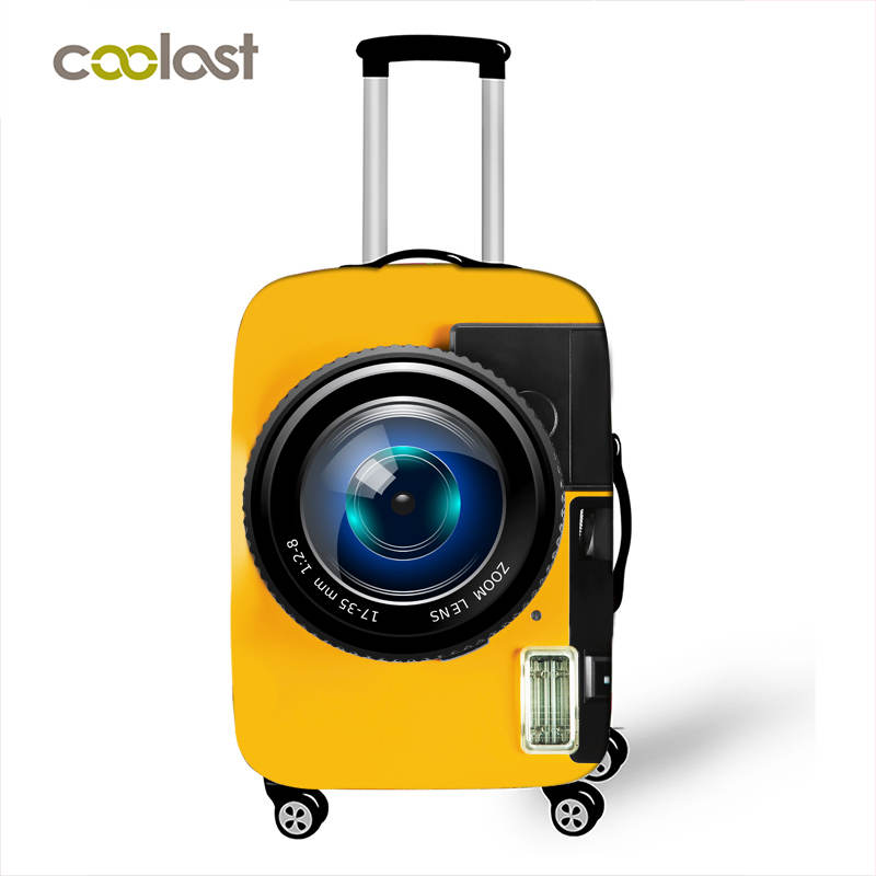 Camera Pattern Print Luggage Protective Covers Travel Accessories Elastic Anti-dust Suitcase Cover Trolley Case Covers For 18-32