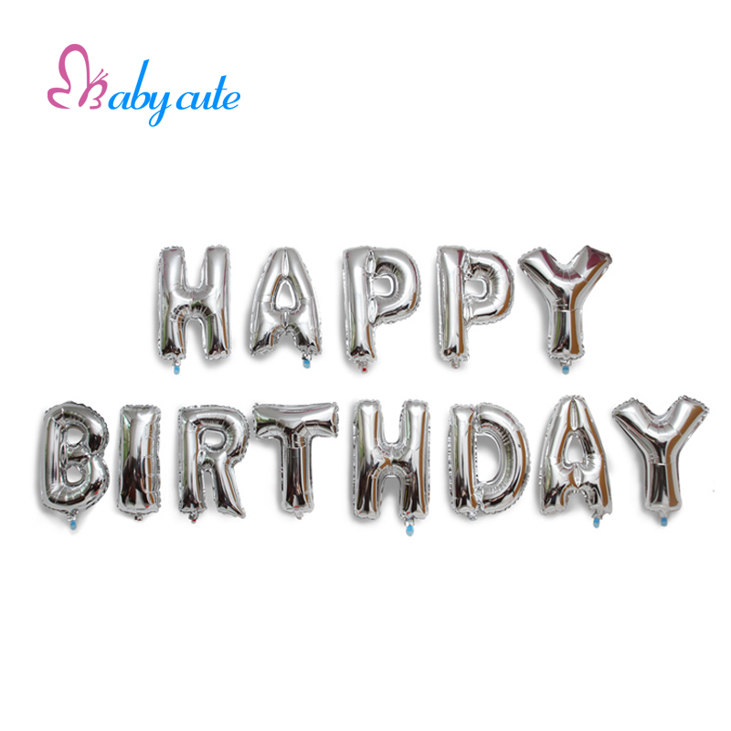aliexpresscom buy happy birthday balloons 16 inch foil balloons silvergold 13pcs letter balloons party decoration wedding supplies best gifts from