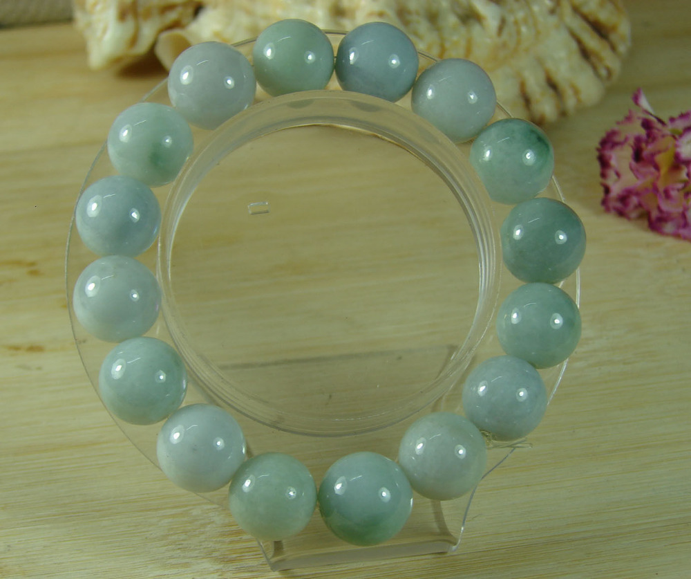 Free shipping 435 Green Bead stone Bangle Bracelet Natural Grade A Jadeite stone Feicui