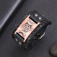 Teamer – Bracelet amulette en cuir noir large, déesse de la lune Wicca, couleur argent/bronze/cuivre, breloque pentagramme magique, bijoux