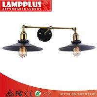 Lampplus Nordic простой двойной Винтаж Лофт Промышленные латунь черный настенный светильник для спальни исследования гостиная гостиничном номер