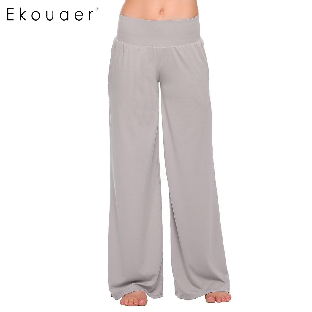 Ekouaer Casual Solid Trousers Fashion Elastic Waist   Wide     Leg     Pants   Women Loose Sleepwear Cozy Long   Pants   Black Gray