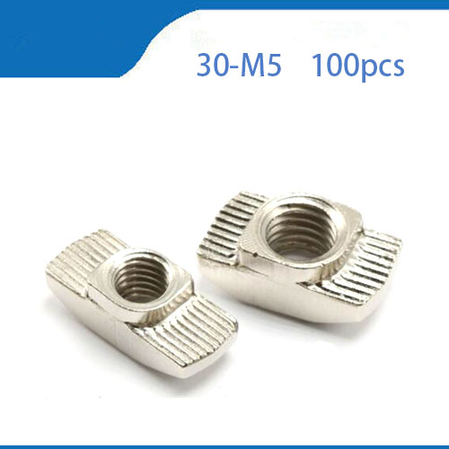 цена на t slot free shipping 100pcs hammer nut 30-M5 hammer nut M5 block t slot nuts for 3030 aluminum profile extrusion Slot 8mm