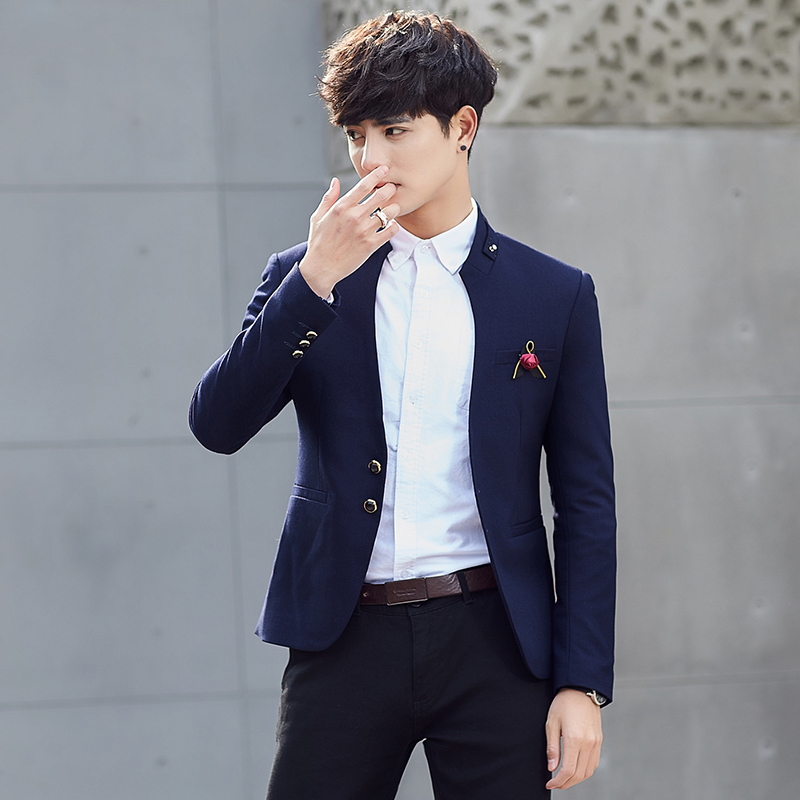 2018 Spring and Autumn Man Suits Blazers 2XL 3XL Navy Blue Wine Red Fashion Business Wedding