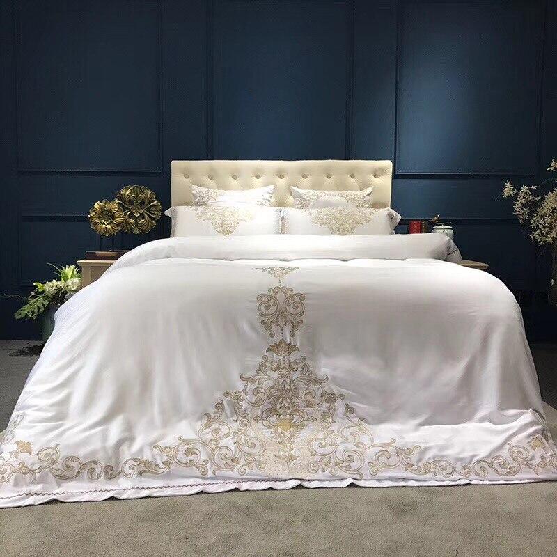 Белый золотистый цвет роскошный шелк вышивка Постельное белье uble кровать набор простыни белье одеяло пододеяльник набор 4/6pc50